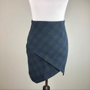 Zara Wrap Asymmetric Plaid Mini Skirt XS